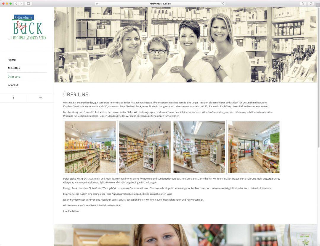 Webseite für Reformhaus Buck
