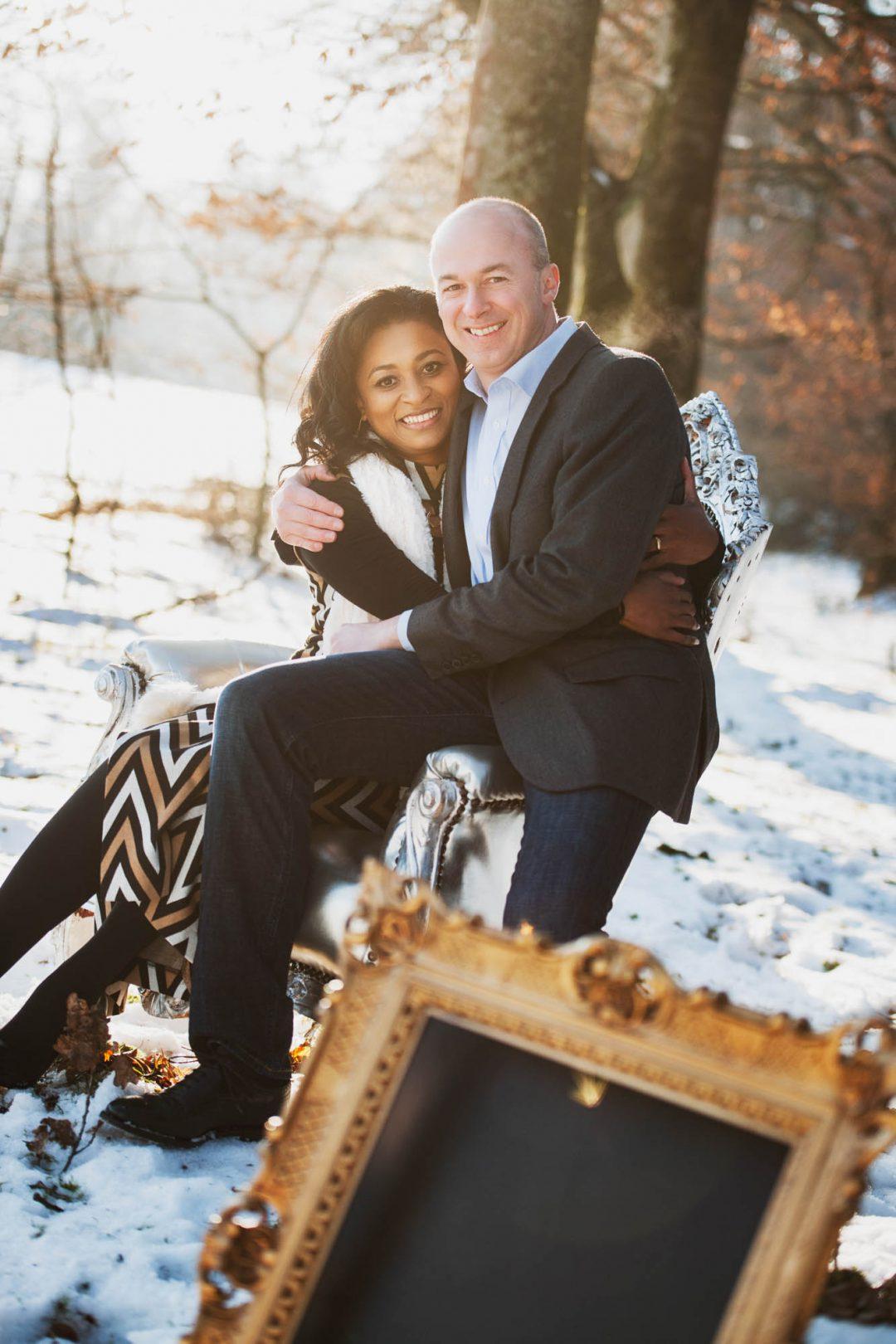 Hochzeitseinladung mit Schnee-Shooting