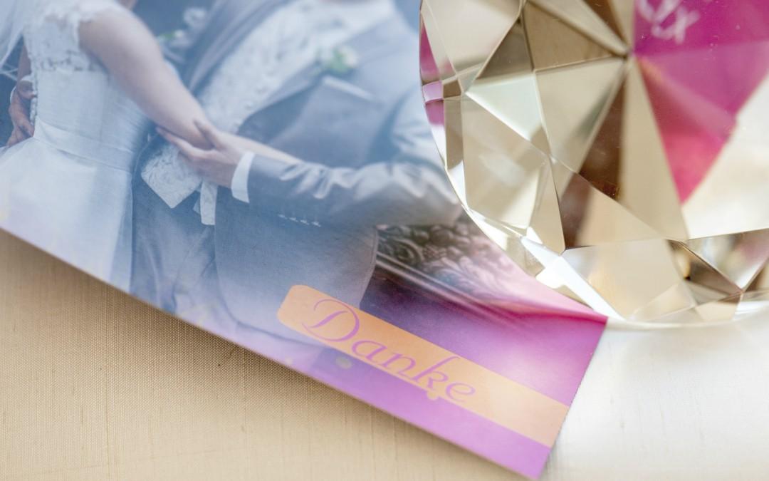 Dankekarten im gewünschten Hochzeits-Design