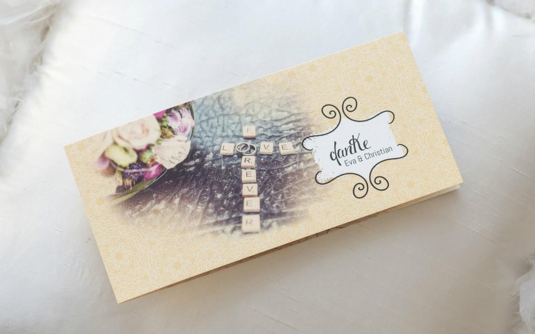 Hochzeits-Dankekarten im Vintage-Style